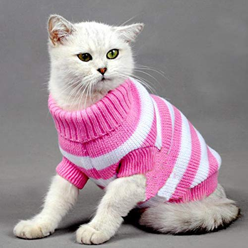 - Warm Striped Cat Dog Sweater Soft Fall Pullover Winter Pet Clothes Braid Plait Turtleneck Knitwear for Kitten Cat Dog Puppy (S, Pink and White)