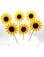 GEORLD Set of 24 Sunflower Cupcake Toppers Party Picks Cake Flower Decoration