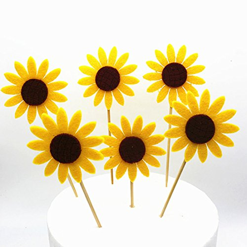 GEORLD Set 24 Sunflower Cupcake Toppers Party Picks Cake Flower Decoration