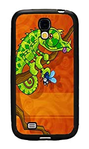 Samsung Galaxy S4 Case, Personalized Abstract Iguana Slim Grip TPU Bumper with Hard Plastic Back Case for Samsung Galaxy S4