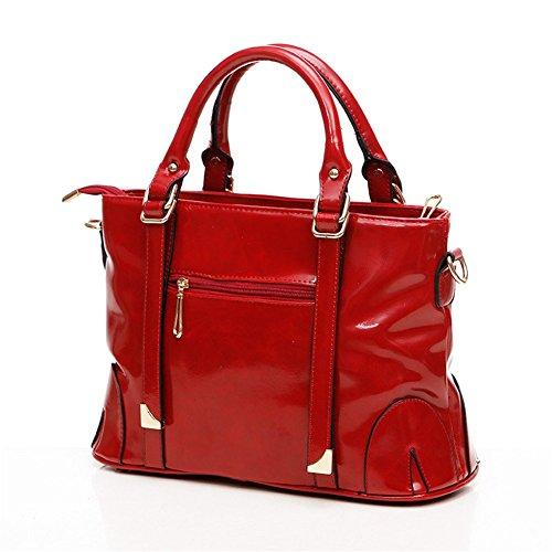 QCKJ-Borsa a spalla da donna, in ecopelle, con Zip Bandbag, colore: rosso