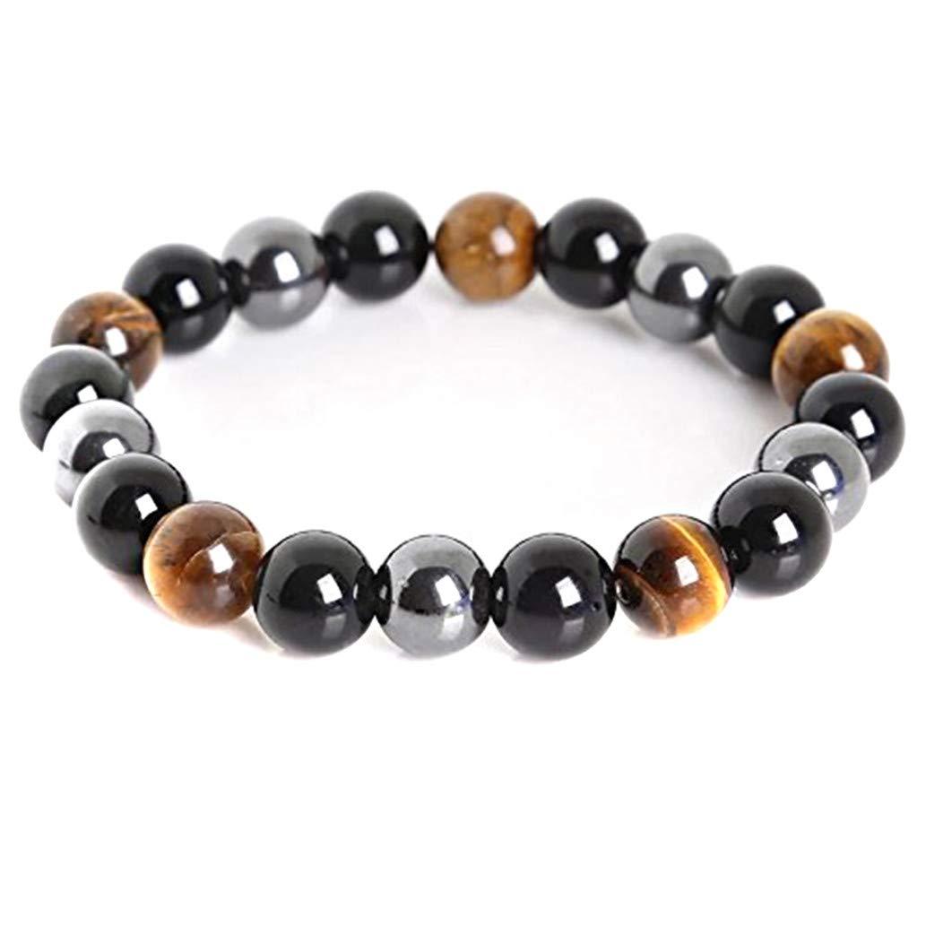 KISSFRIDAY 10mm Tigers Eye Bracelet Energy Healing Therapy Yoga Bracelet Root Healing Stones SHUMENG