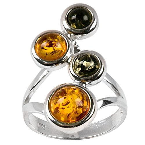 Sterling Silver Baltic Multicolor Amber Groups Round Stones Ring