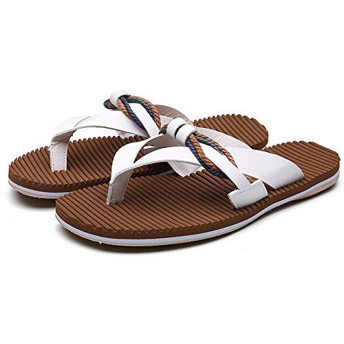 EU 43 antiscivolo White Pantofole dimensione da vera da uomo Infradito Uomo casual Sandali spiaggia da Xujw Sandali Infradito in da shoes spiaggia morbidi Colore piatti White pelle wpqBx4RpcS