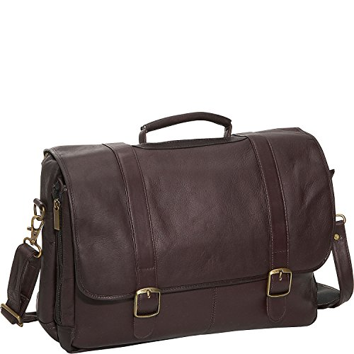 David King Leather Porthole Laptop Briefcase in Cafe ()