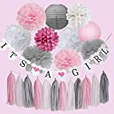 Furuix Baby Shower Decorations It's A Girl Banner Pink Grey White Tassel Garland Paper Lanterns Tissue Paper Pom Pom for Baby Shower Girl Decoration/Pink White Birthday Party Decor