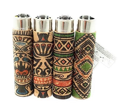 Bundle Clipper Tribal Tattoo Pattern Cork Covered Cigarette Lighters 4 Styles