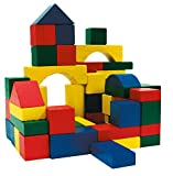 URBN-TOYS 100 Pieces Wooden Construction Bricks Colourful Building Blocks In Tub
