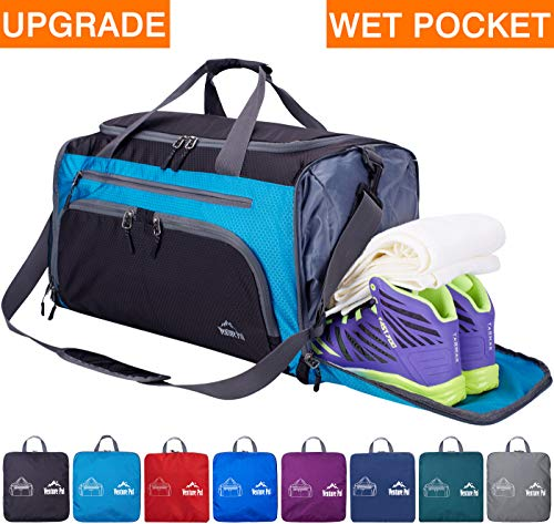 Venture Pal Packable Sports Gym Bag with Wet Pocket & Shoes Compartment Travel Duffel Bag for men and Women-Blus/Black