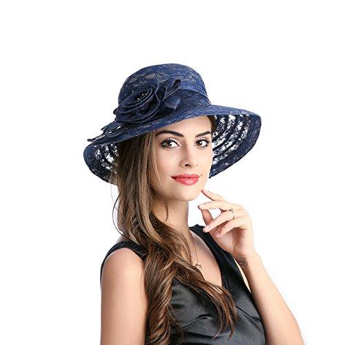 Navy Derby Hat (Dantiya Summer Lace Beach Sun Hat Kentucky Derby Church Dress Bucket Hat Navy, One)