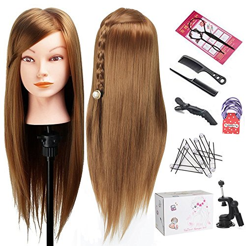 Mannequin Head with Hair, TopDirect Hair Mannequin Manikin Head Hair Practice Cosmetology Hair Doll Head Styling Hairdressing Training Braiding Heads 20 Inch Long with Clamp Holder and Tools from TopDirect