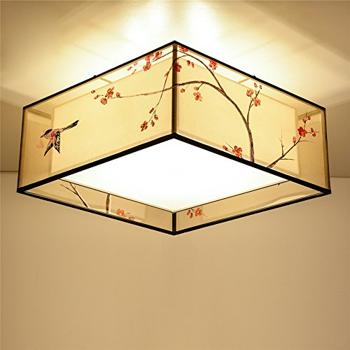 Modern LED Pendant Flush Mount Ceiling Fixtures Light New Chinese Ceiling Lamps Hand painted Flower and Bird Floral Fabrics Simple Modern Chinese Dome Light, 500 (Hand Painted Flowers Pendant Lamp)