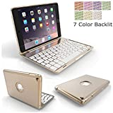 """Miya iPad air 3 10.5"""" 2019 Keyboard Cover, 7 Colors Aluminum Backlit Wireless Bluetooth Keyboard Case with 360°Rotate Keyboard Case for iPad Air 3 10.5 Inch 2019 Release/iPad Pro 10.5-Gold"""
