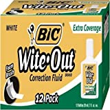 BIC Wite-Out Extra Coverage Correction Fluid, White, 12 Correction Fluids by Wite Out