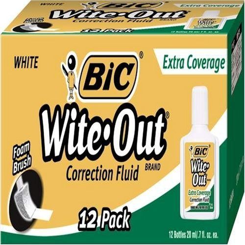 BIC Wite-Out Extra Coverage Correction Fluid, White, 12 Correction Fluids by Wite Out by Wite Out