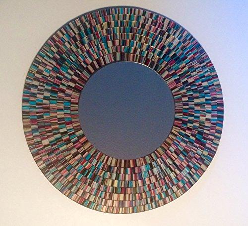 Art Glass Contemporary Mirror - Mosaic Glass Art Mirror (Blue Burst)