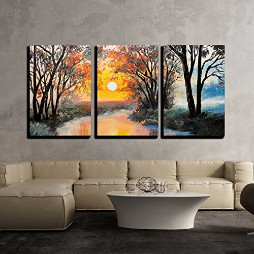 wall26 - 3 Piece Canvas Wall Art - Oil Painting on Canvas - the River, Watercolor, Wallpaper, Tree - Modern Home Decor Stretched and Framed Ready to Hang - 16