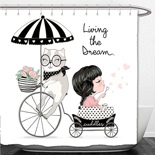 Interestlee Shower Curtain cute girl with cat love cards children cartoon character valentines or romantic card wedding - Boston Macy's