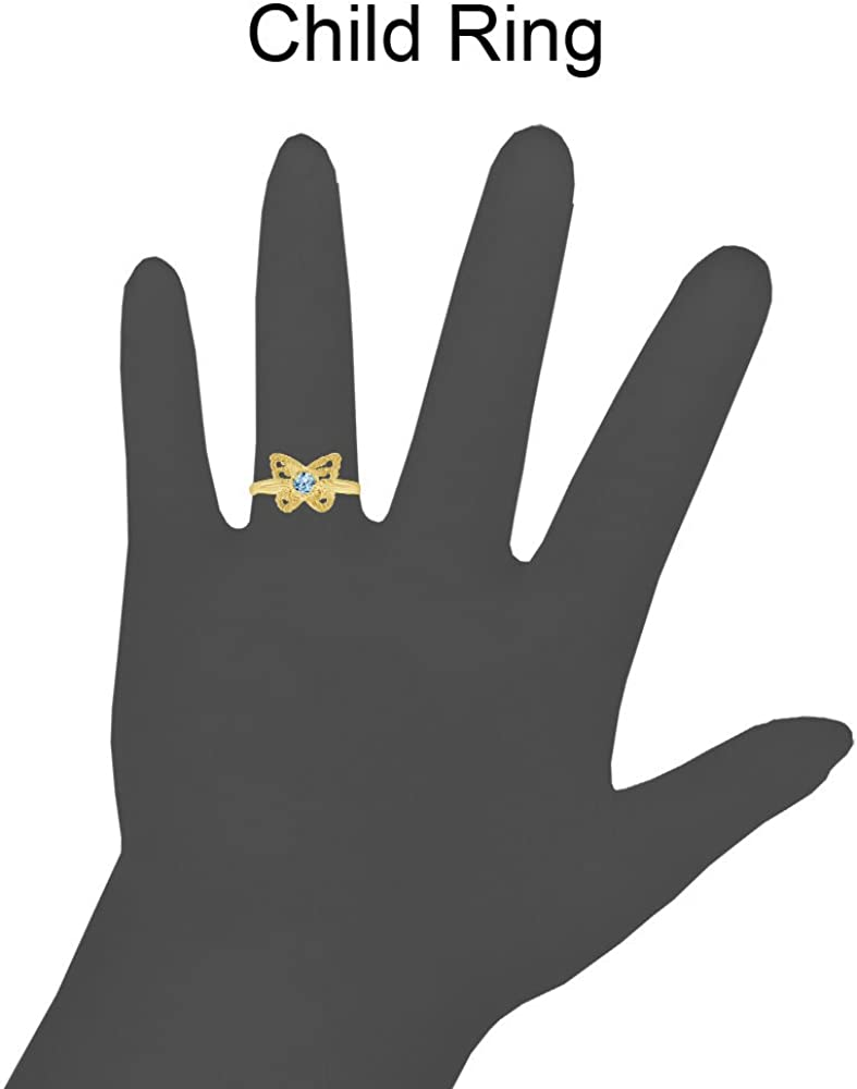 Mini Size Child or Adult Pinky Ring Created Aqua CZ Butterfly Design 14k Yellow Gold
