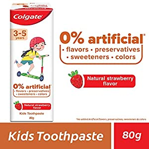 Colgate Toothpaste for Kids (3-5 years), Natural Strawberry Flavour, 0% Artificial- 80g Tube