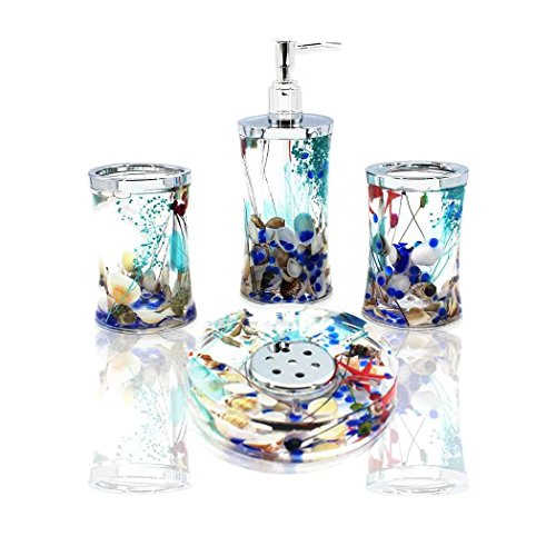 (ADUTY 4 Piece Bathroom Accessories Complete Set Acrylic Ocean Series Bathroom Organizer with Blue Glass and Sea Shell)