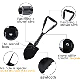 Portable Folding Shovel/Pusher/Plow/Pickaxe Garden Yard Utility Entrenching Emergency Survival Tool of Hoe, Saw, Spade, Wovel All Season Camping Shovel Sapper for Car and Trunk Snow Removal Kit
