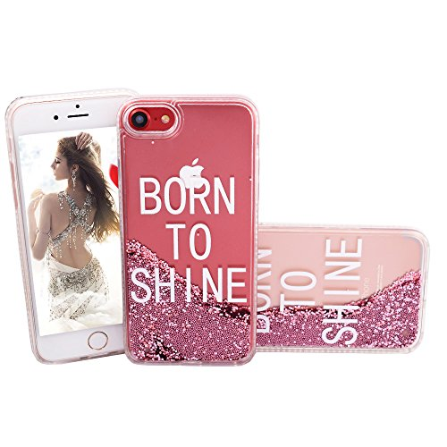 Negret iPhone 7 Fun Girls Case Trendy Clear Floral Glitter Quicksand Luxury Liquid Girls Mobile Quote Covers Anti Shock Slim TPU Transparent Bling Plastic Shinning Case Gift for Teen Shine