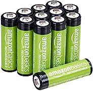 Amazon Basics Pacote com 12 pilhas AA com capacidade de desempenho de 2.000 mAh recarregáveis, pré-carregadas,
