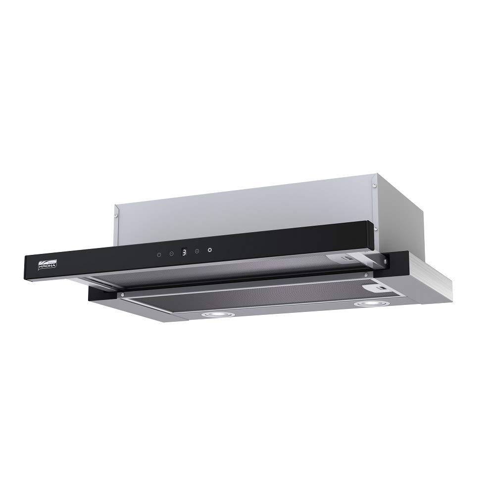KRONA Steel/KAMILLA 600 Sensor Inox/Black / Unterbau Dunstabzughaube/Touch Steuerung/Schwarz Glas Panel/ECO - LED / 550 m³ /h / 43 dB Kamila