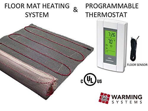 15 Sqft Mat, Electric Radiant Floor Heat Heating System with Aube Digital Floor Sensing Thermostat - Electric Radiant Floor Heat