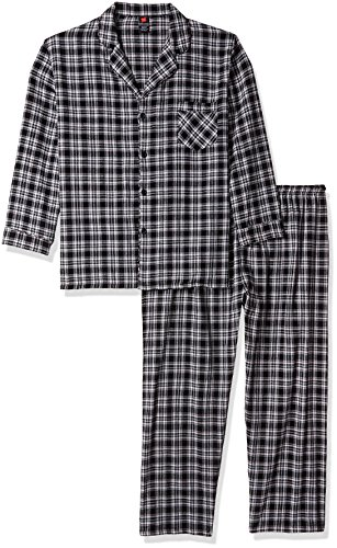 Hanes Men's Big Flannel Pajama Set, Black Plaid, 3X (Hanes Flannel Plaid Pajamas)