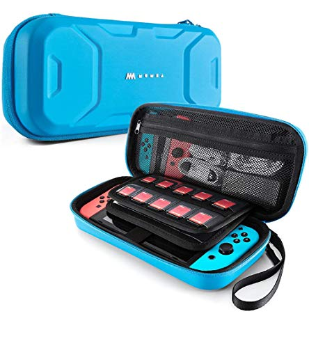 Mumba Carrying Case for Nintendo Switch, Deluxe Protective Travel Carry Case Pouch for Nintendo Switch Console & Accessories [Dual Protection] [Large Capacity] (Blue) (Kids Traveler Case)