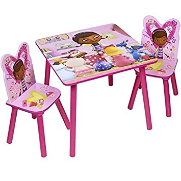 disney doc mcstuffins wooden childrens table two chairs set bedroom      rh   amazon co uk