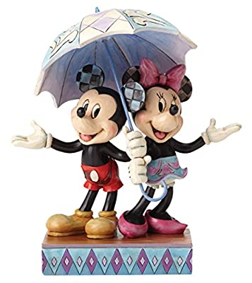 """Enesco Disney Traditions by Jim Shore Minnie Mouse and Mickey Mouse Umbrella Stone Resin Figurine, 7.75"""""""