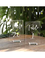 UNIQOOO Acrylic Wedding Table Number with Stand   4x6 inch 1-20 Printed Calligraphy, Sign and Holder