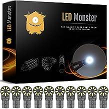 LED Monster 10-Pack White 18SMD LED Bulbs 194 168 T10 2825 Courtesy Step Light Car Dome Map License Plate Lights Lamp
