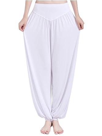 Minetom Femmes Elastique Pantalon sarouel Baggy soldes Casual Yoga Pantalon  Sportswear ( Blanc 1 )