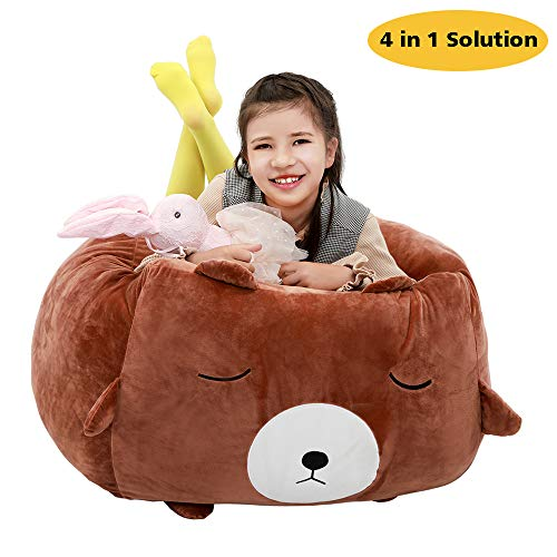 Bear Stuffed Animal Storage Bean Bag,4 in 1 Solution, 24x24 Inch Velvet Extra Soft Stuffie Organization Replace Mesh Toy Hammock for Kids Toys Blankets, Towels & Clothes Household Supplies (Brown)
