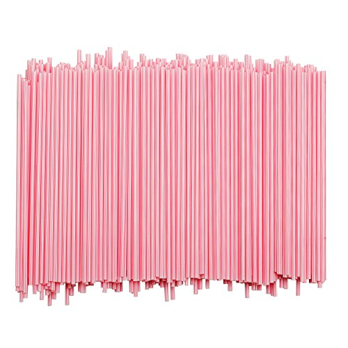 Disposable Plastic Coffee Stirrer Straw - 5 Inch Sip Stir Stick (White w/Red Stripes, 1,000)