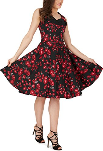 Black Butterfly Robe Années 50 Classique Harmony 'Aura' (Roses Rouges, FR 40 - M)