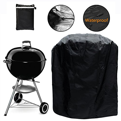 Kettle Grill Barbeque (Grill Cover, Kettle Style Barbecue Grill Cover Waterproof Outdoor Round Grill Cover with Elastic Strap, Dia 30