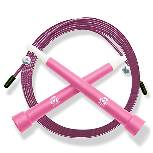 Plastic Fitness Jumprope with Adjustable 11 Foot Cable , Carrying Bag , Bonus 4K eBook and Replacement Parts - Pink