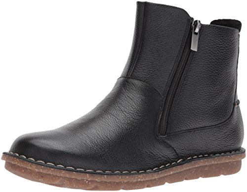 CLARKS Women's Tamitha Flower Boot, Black Leather, 10 M US (Leather Flat Boots)