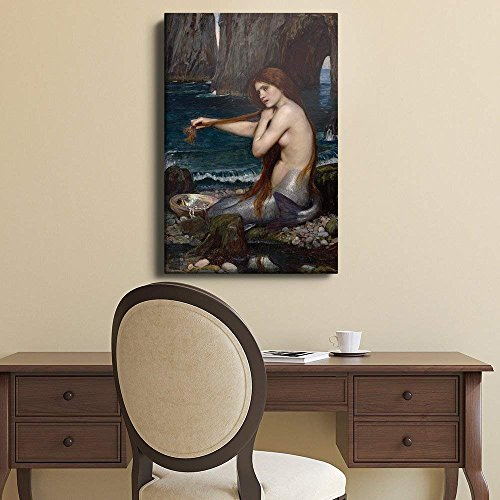 wall26 - A Mermaid by John Williams Waterhouse, Reproduction of The Oil on Canvas Painting 1901 - Canvas Art Home Decor - 12x18 inches ()