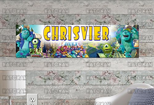 Customized Name Painting Monster University Inc Movie Poster With Your Name On It Personalized Banner