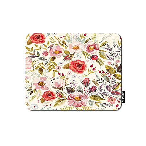 (oFloral Pink Flower Gaming Mouse Pad Romantic Floral Paint Garden Red Flowers Leaves Decorative Mousepad Rubber Base Home Decor for Computers Laptop Office Home 7.9X9.5 Inch)