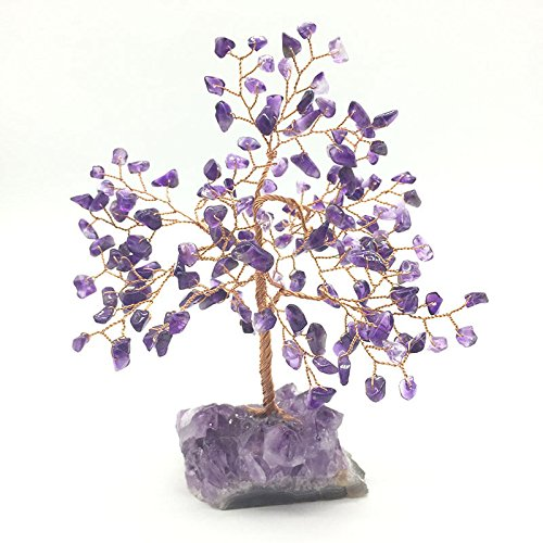 MOSOAO Natural Rock Amethyst Quartz Stone Crystal Tree for Good Luck, Wealth & Prosperity-Home Office Table Decor
