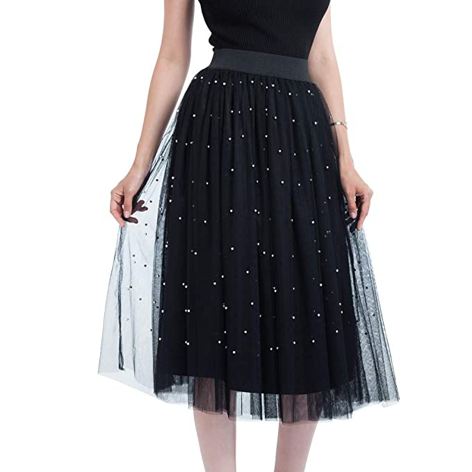 c927982a09c2 NREALY Skirt Womens Plus Size Bead Mesh Tulle Skirt Pleated Princess Skirt  Mesh Bubble Skirt(