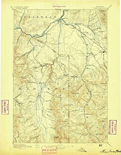YellowMaps Three Forks MT topo map, 1:250000 Scale, 1 X 1 Degree, Historical, 1894, 20.4 x 15.9 in - Polypropylene