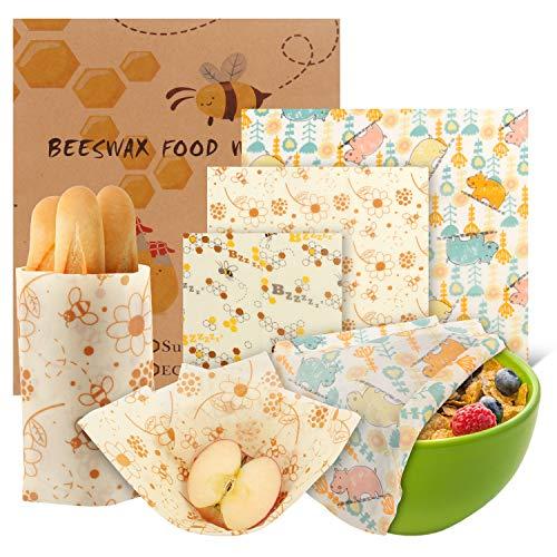 Bienenwachstücher, 6er Set – Bio Wickeltücher aus Bienenwachs – 100% Natürlich & Umweltfreundlich – Wiederverwendbar - Lebensmittelecht